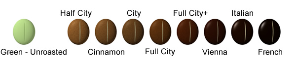 Coffee Roasting Levels - Color Chart